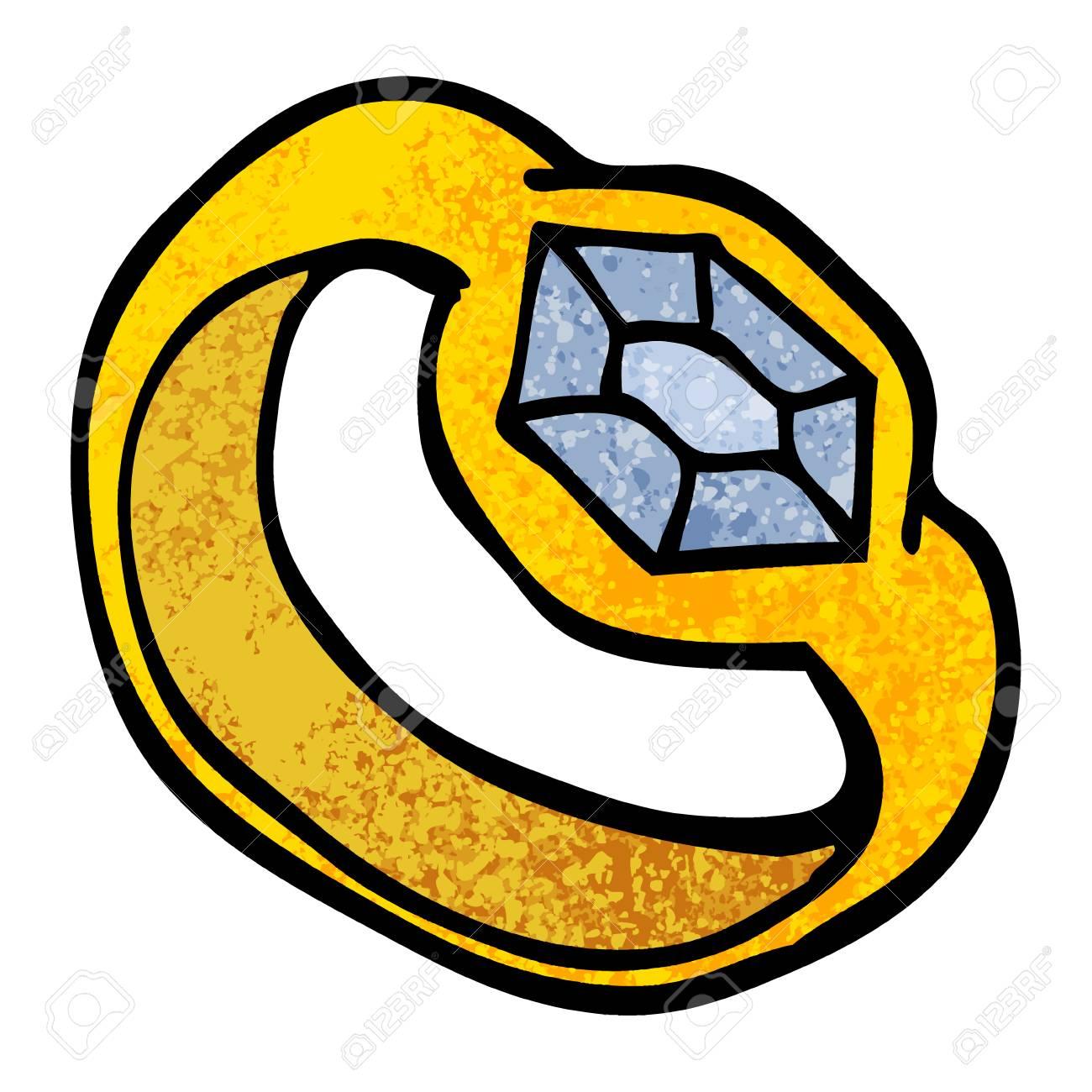 grunge textured illustration cartoon diamond ring - 110313809