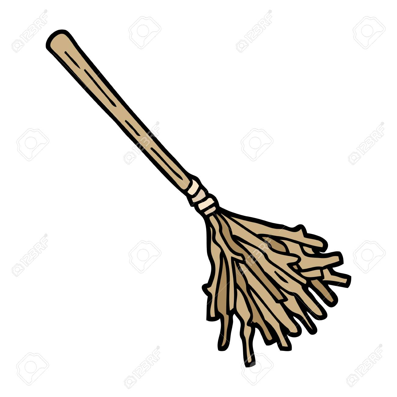 hand drawn doodle style cartoon witches broomstick - 110402705