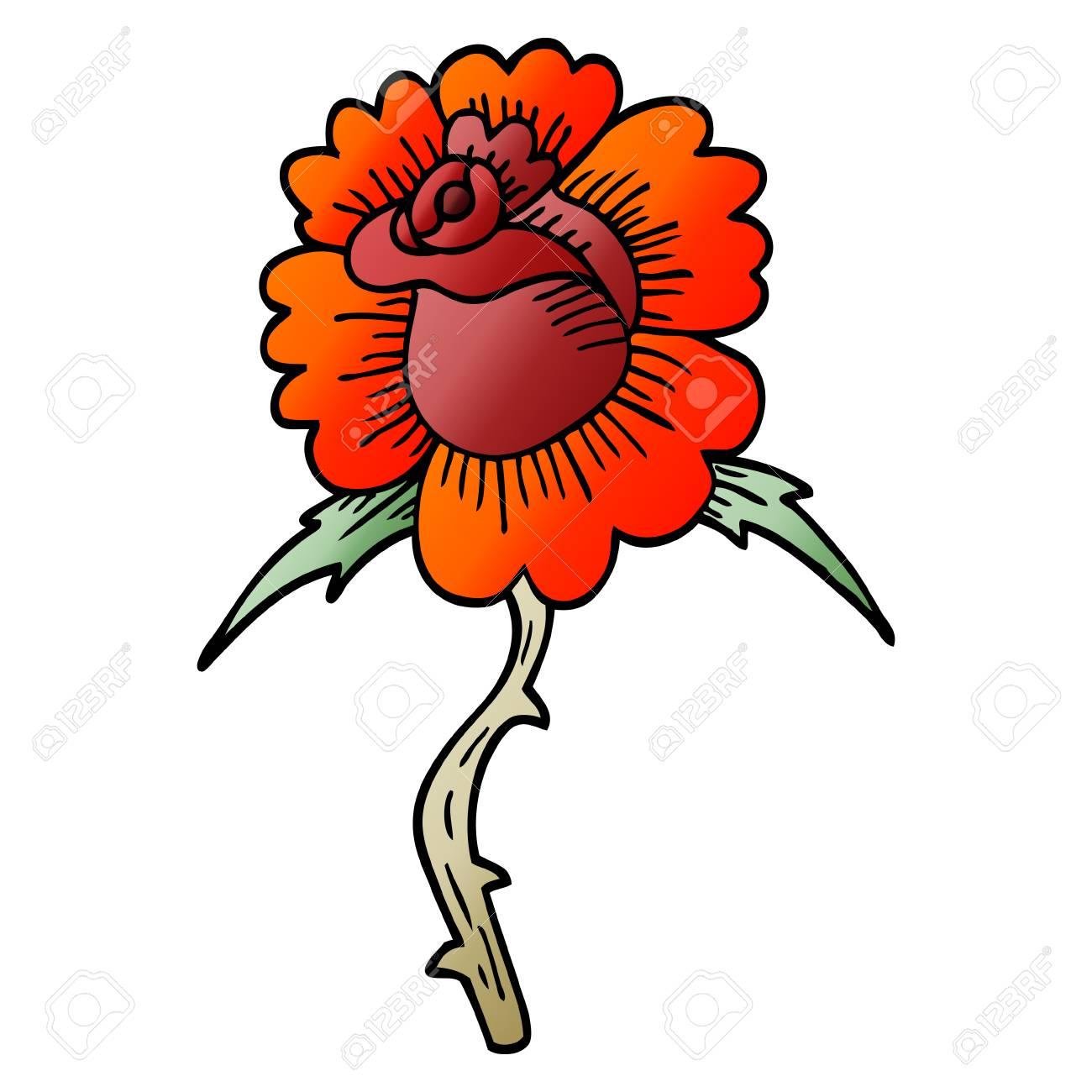 30661f57c Cartoon Doodle Rose Tattoo Symbol Royalty Free Cliparts, Vectors ...