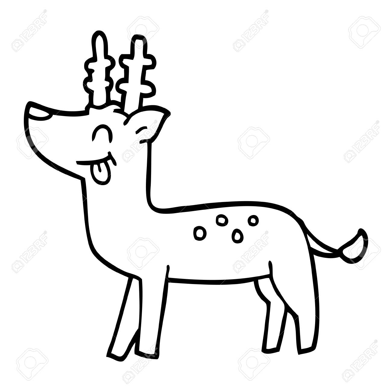 Line Drawing Cartoon Happy Deer Royalty Free Cliparts Vectors And