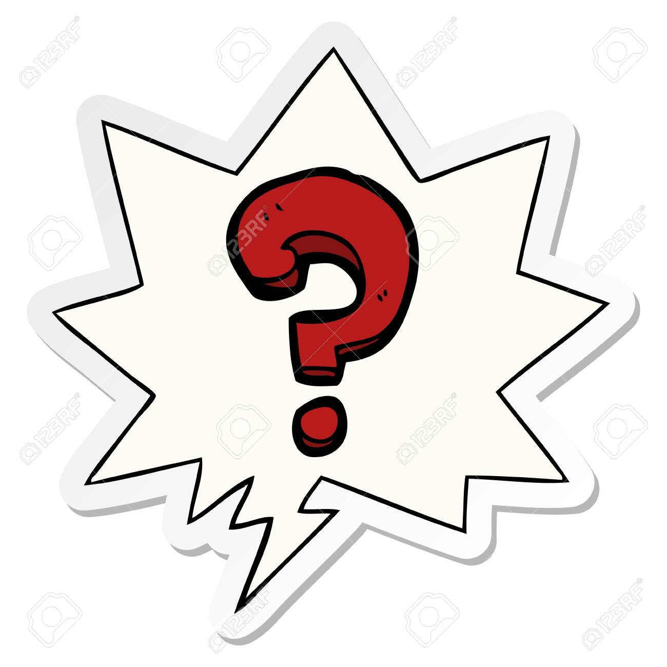 Cartoon Question Mark With Speech Bubble Sticker Royalty Free Cliparts,  Vectors, And Stock Illustration. Image 128593573.