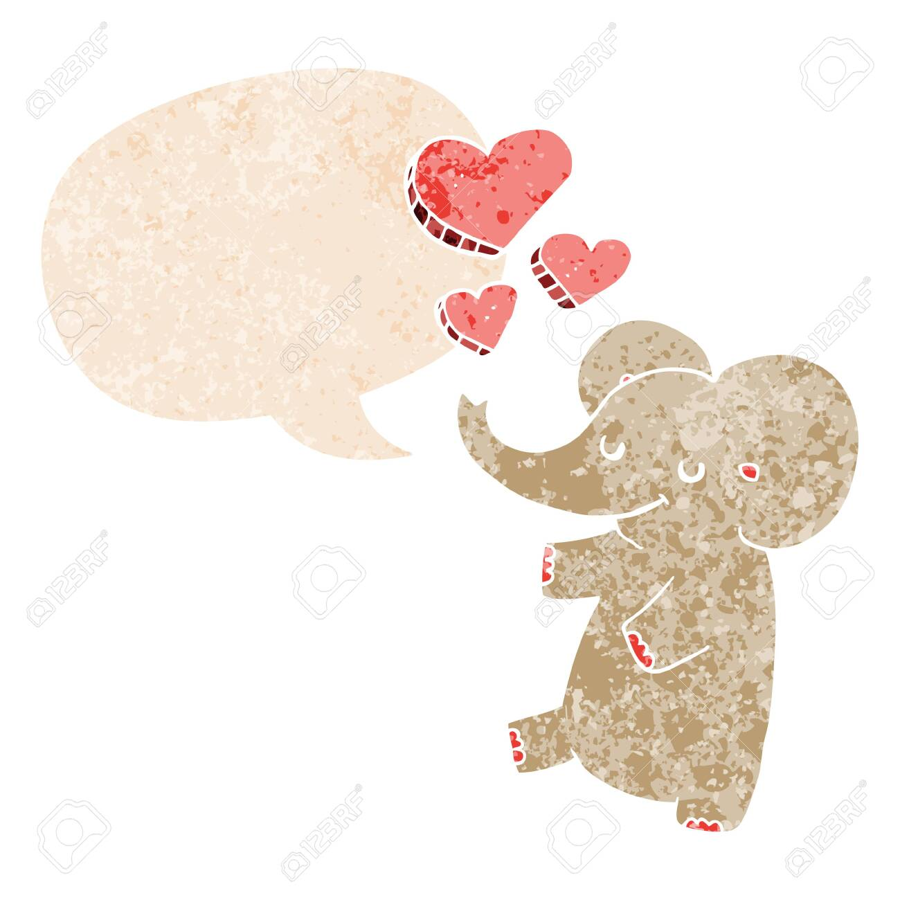 cartoon elephant with love hearts with speech bubble in grunge distressed retro textured style - 128706560
