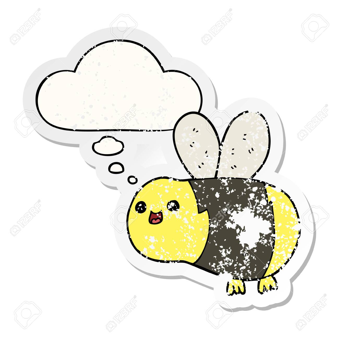 cartoon bee with thought bubble as a distressed worn sticker - 128821812
