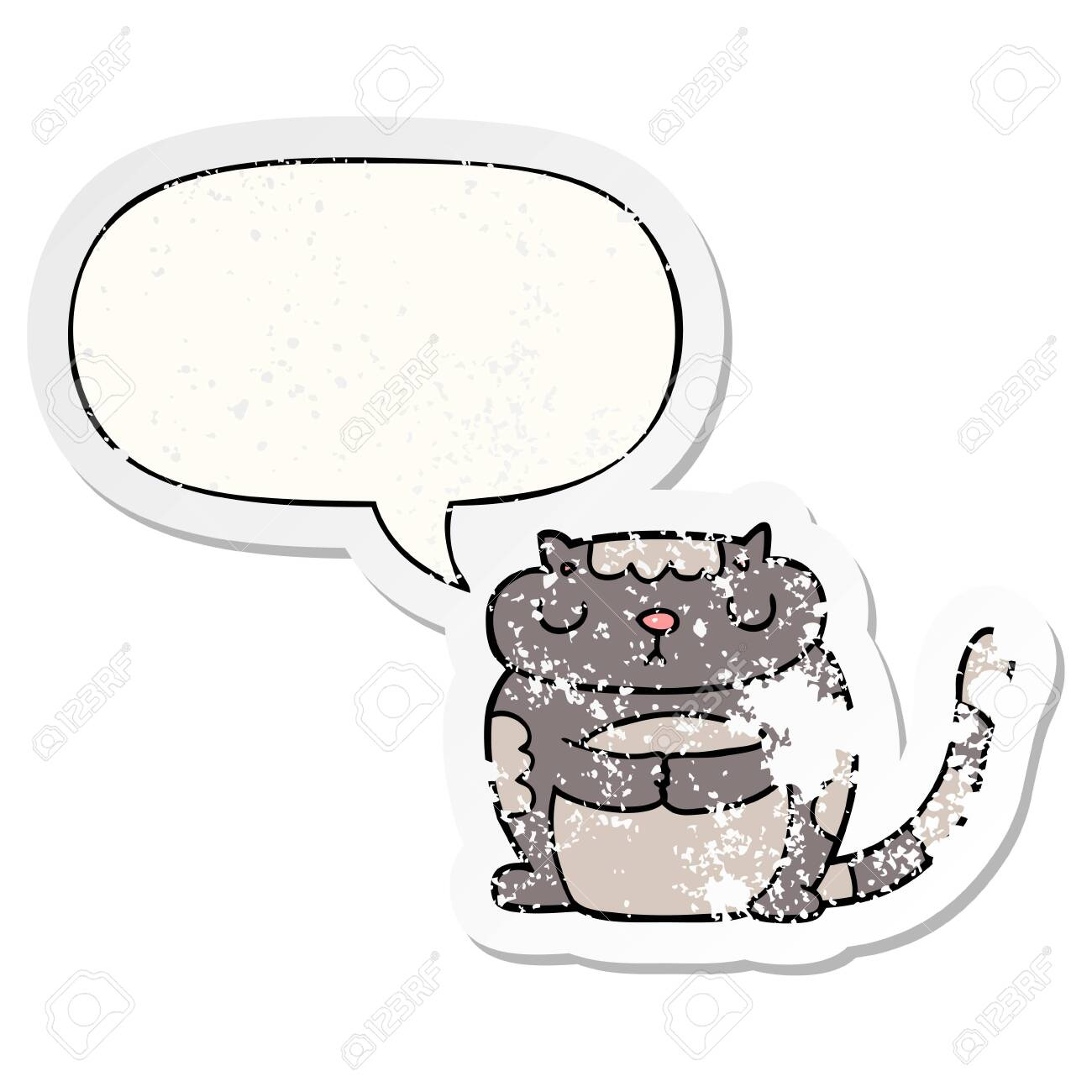 cute cartoon cat with speech bubble distressed distressed old
