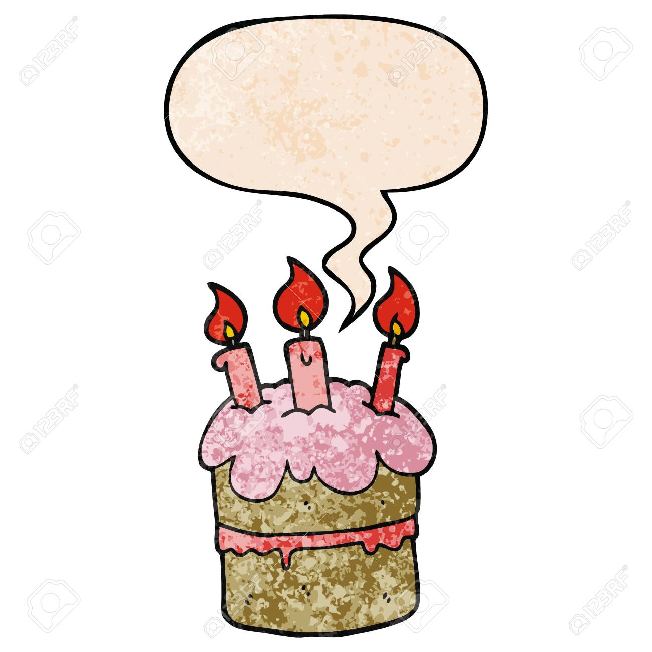 Super Cartoon Birthday Cake With Speech Bubble In Retro Texture Style Personalised Birthday Cards Paralily Jamesorg