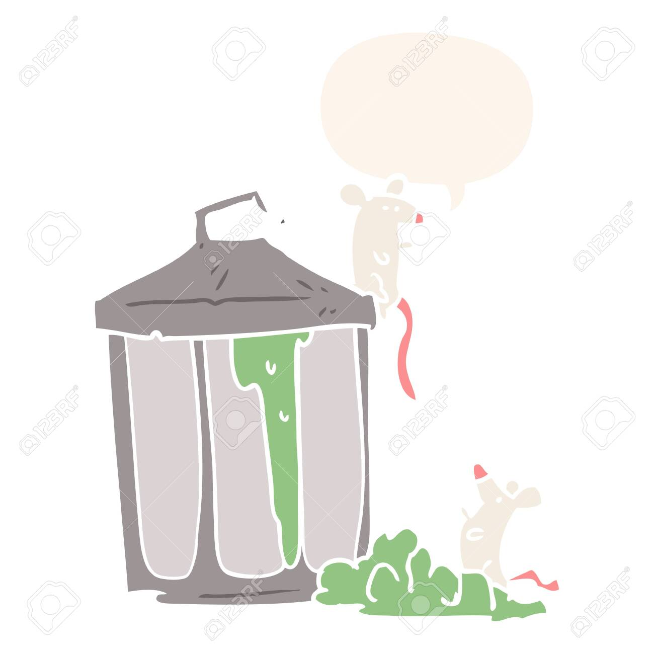 Cartoon Old Metal Garbage Can With Mice With Speech Bubble In
