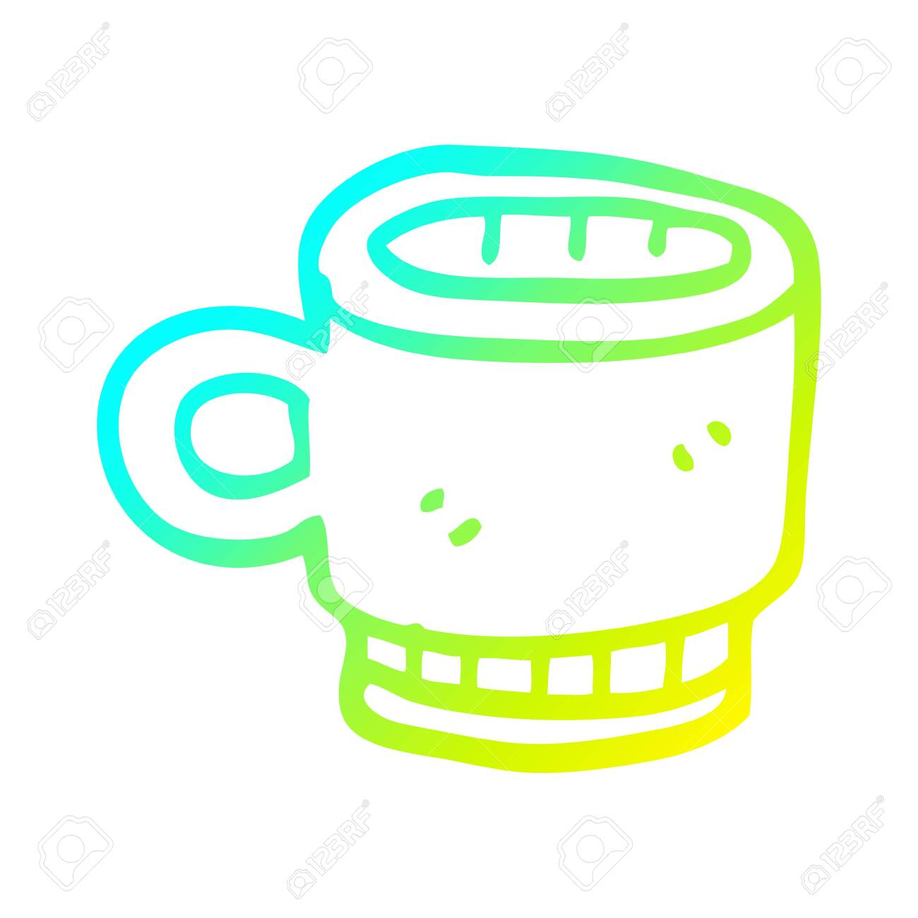Cold Gradient Line Drawing Of A Cartoon Coffee Mug Royalty Free Cliparts Vectors And Stock Illustration Image 129278256