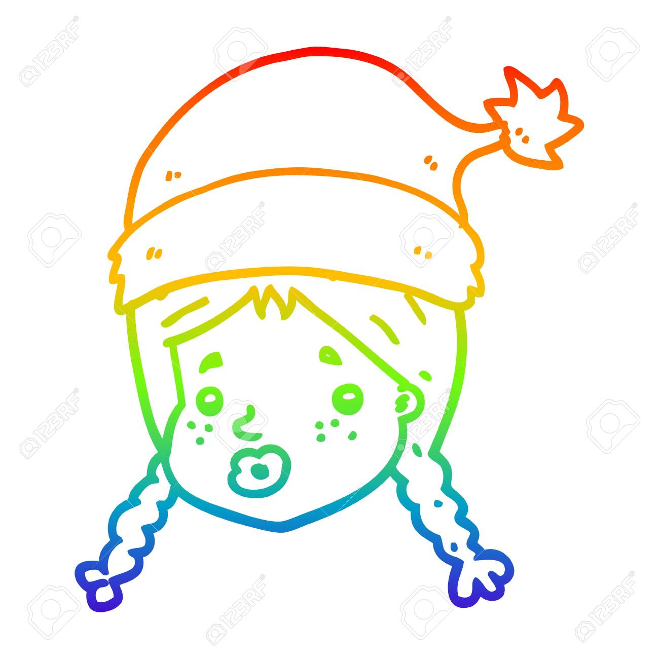 Christmas Hat Drawing.Rainbow Gradient Line Drawing Of A Cartoon Girl Wearing Christmas