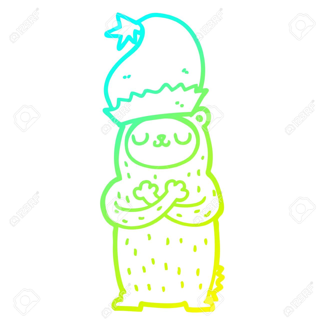 Christmas Hat Drawing.Cold Gradient Line Drawing Of A Cartoon Bear Wearing Christmas