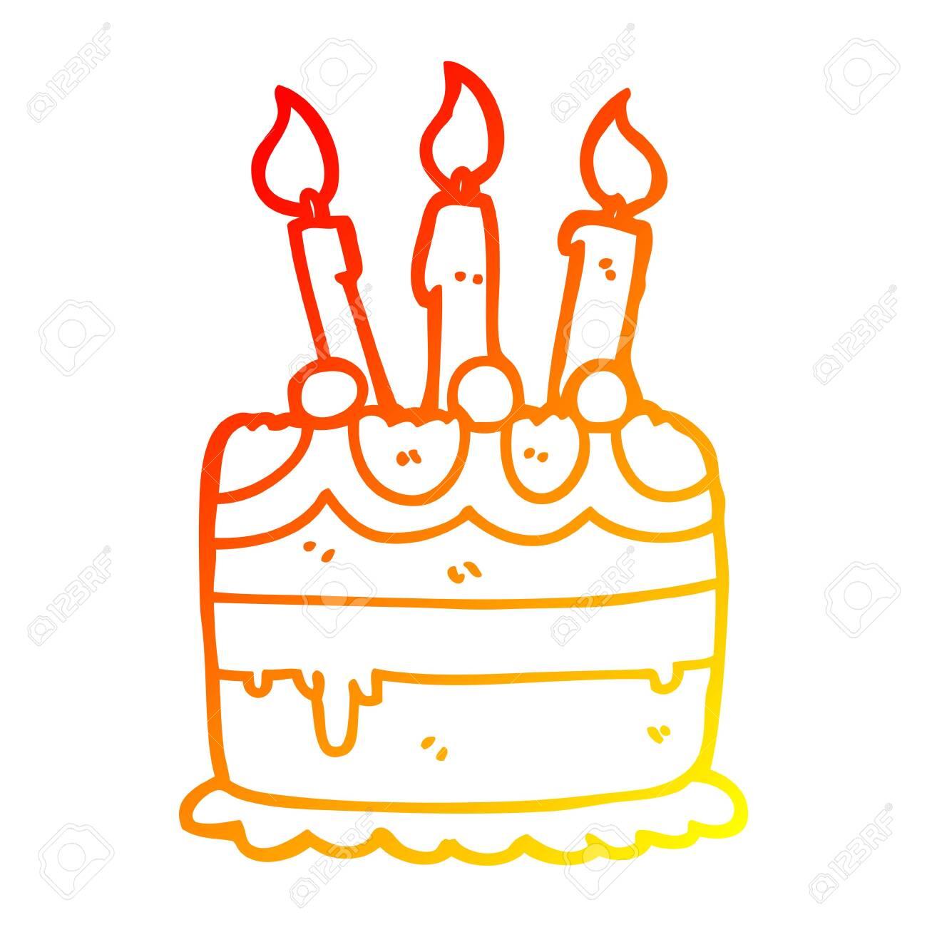 Amazing Warm Gradient Line Drawing Of A Cartoon Birthday Cake Royalty Free Personalised Birthday Cards Vishlily Jamesorg