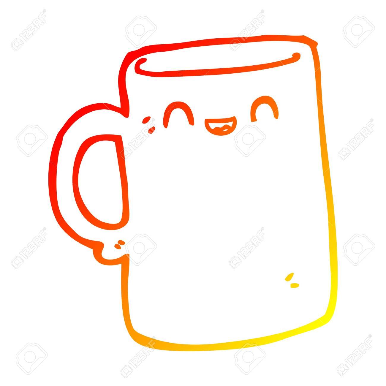 Warm Gradient Line Drawing Of A Cartoon Mug Royalty Free Cliparts Vectors And Stock Illustration Image 129355826