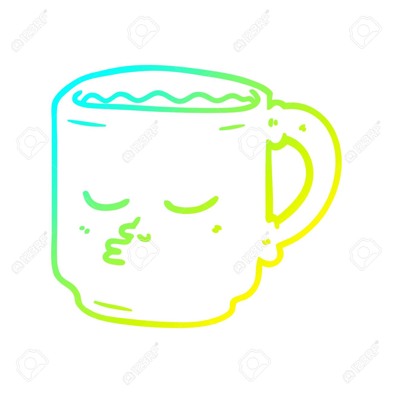 Cold Gradient Line Drawing Of A Cartoon Coffee Mug Royalty Free Cliparts Vectors And Stock Illustration Image 129821819