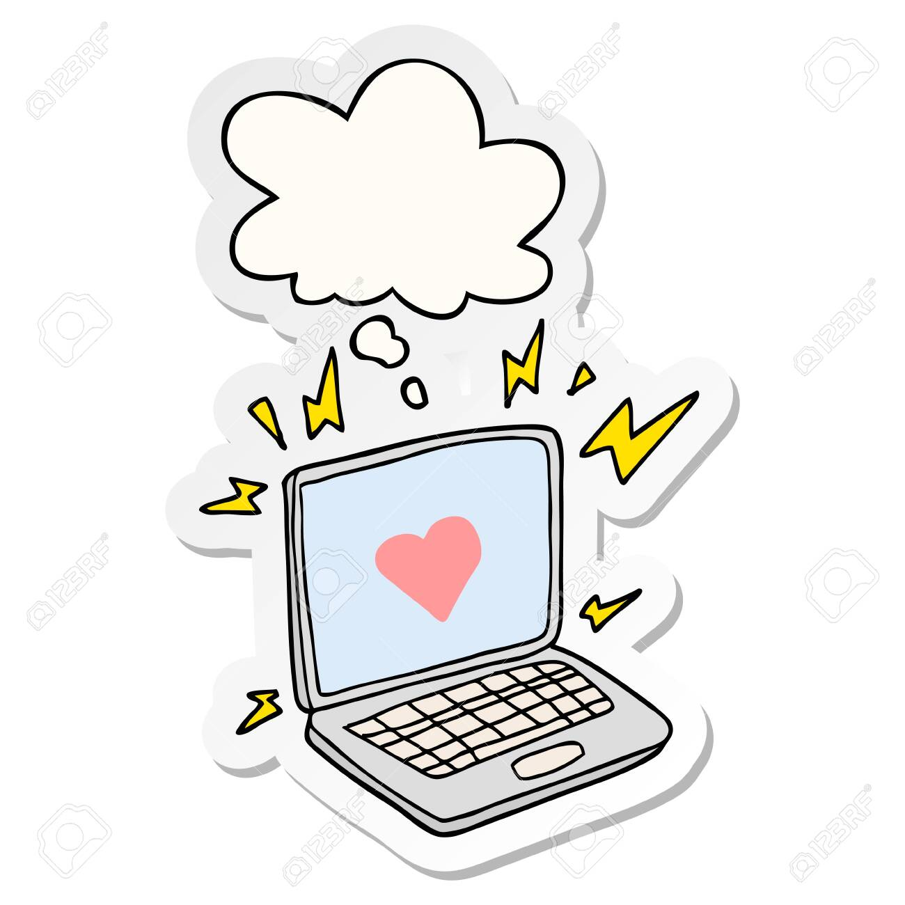 internet dating cartoon with thought bubble as a printed sticker - 129874147