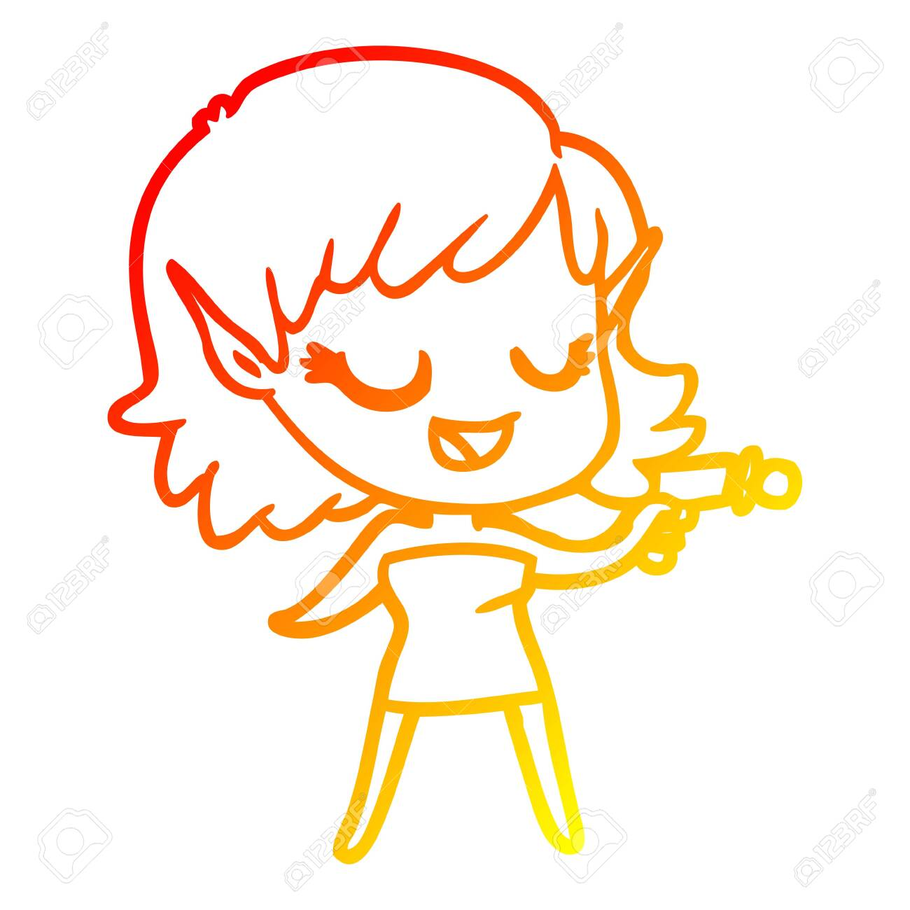 Warm Gradient Line Drawing Of A Happy Cartoon Space Girl With Ray