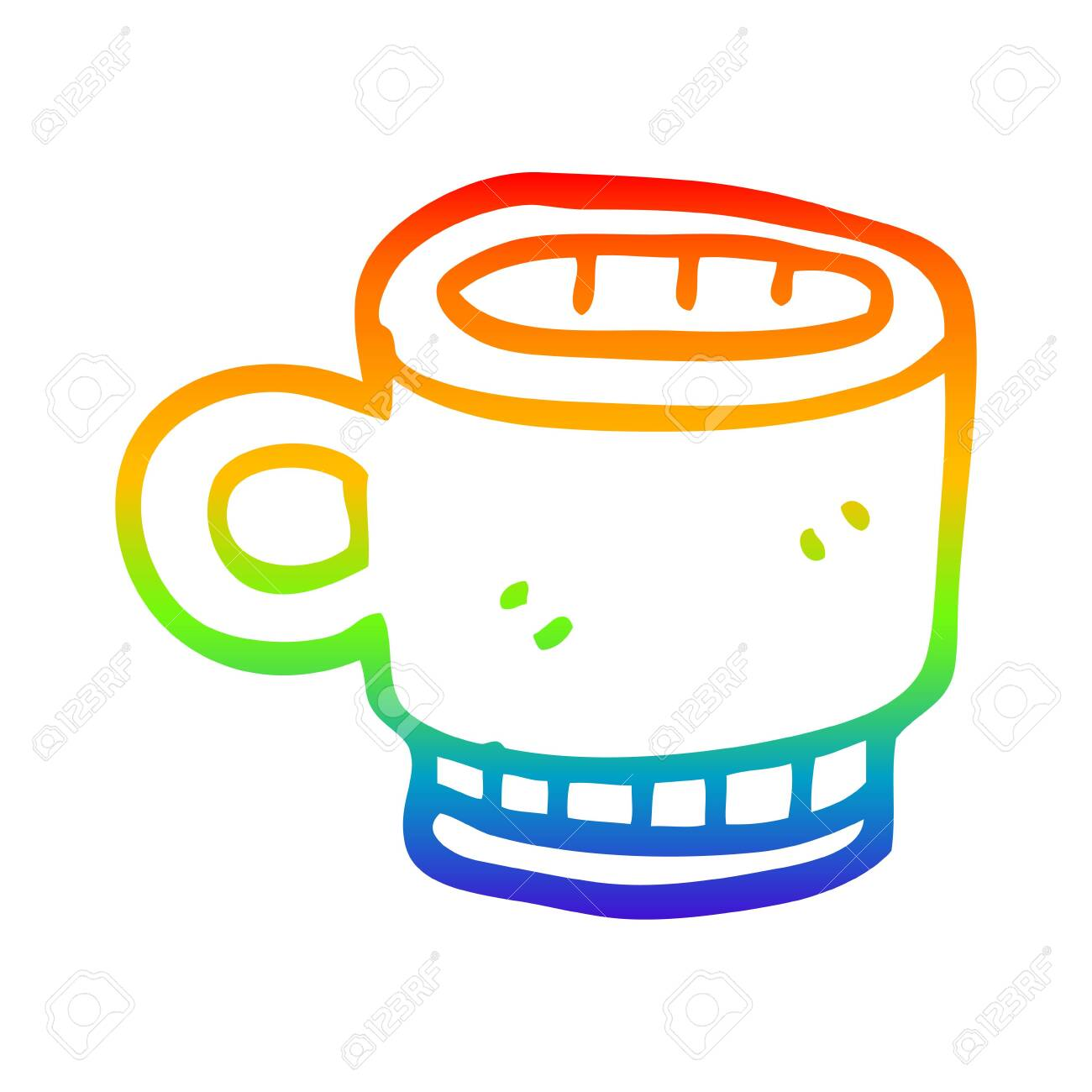 Rainbow Gradient Line Drawing Of A Cartoon Coffee Mug Royalty Free Cliparts Vectors And Stock Illustration Image 130110340