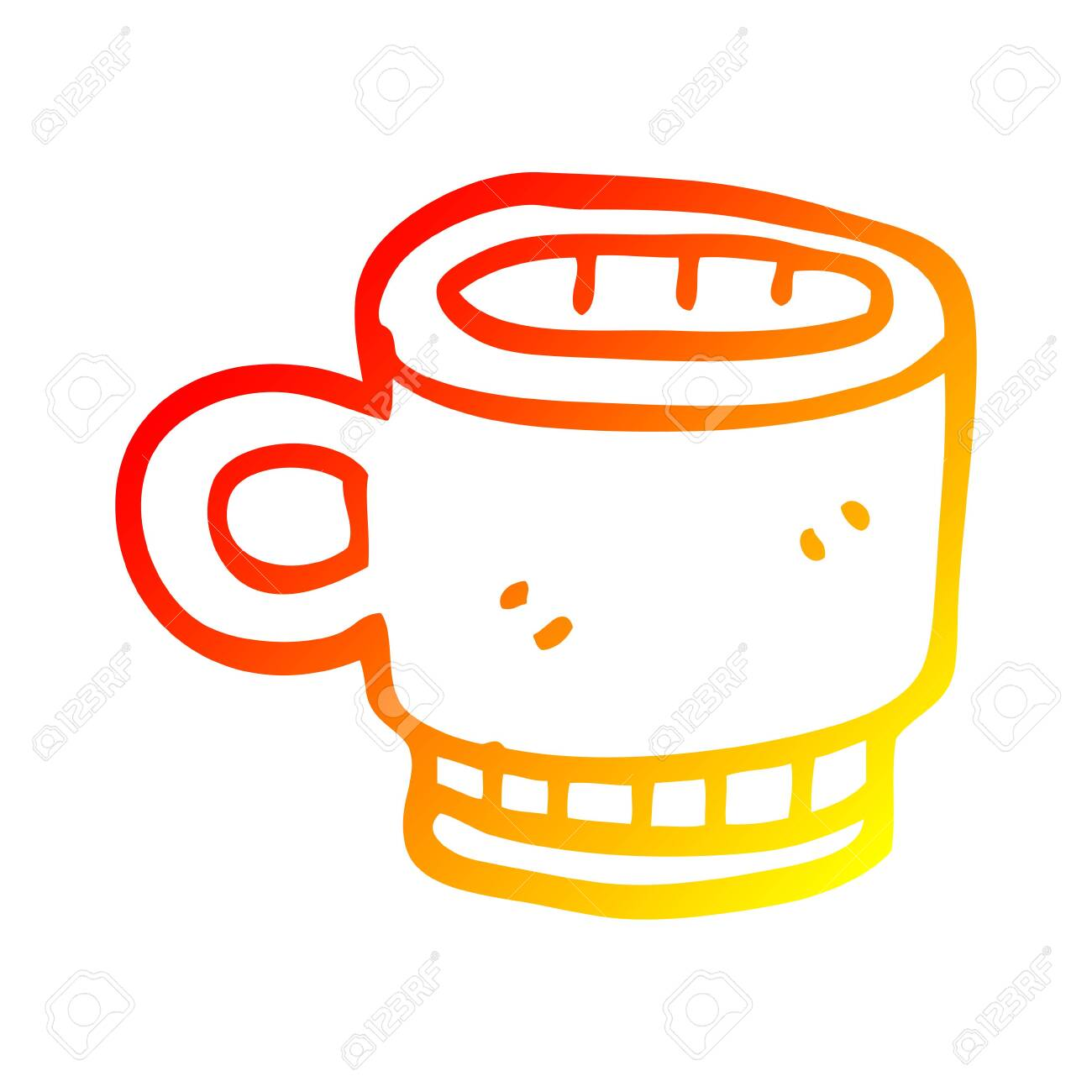 Warm Gradient Line Drawing Of A Cartoon Coffee Mug Royalty Free Cliparts Vectors And Stock Illustration Image 130200716