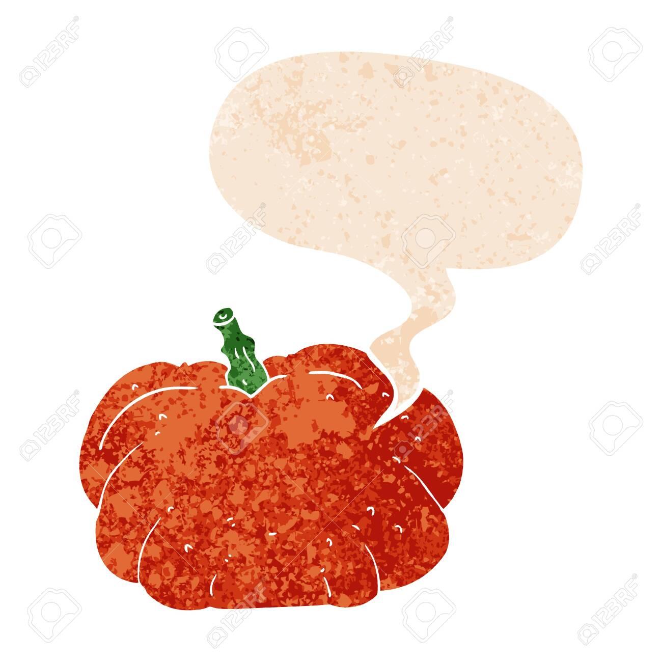cartoon pumpkin with speech bubble in grunge distressed retro textured style - 130300325