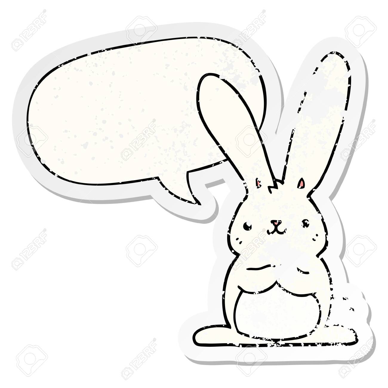 cartoon rabbit with speech bubble distressed distressed old sticker - 130433516