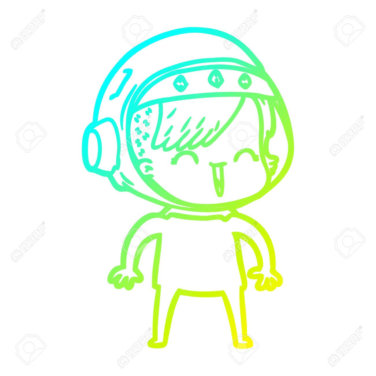 Cold Gradient Line Drawing Of A Happy Cartoon Space Girl Royalty