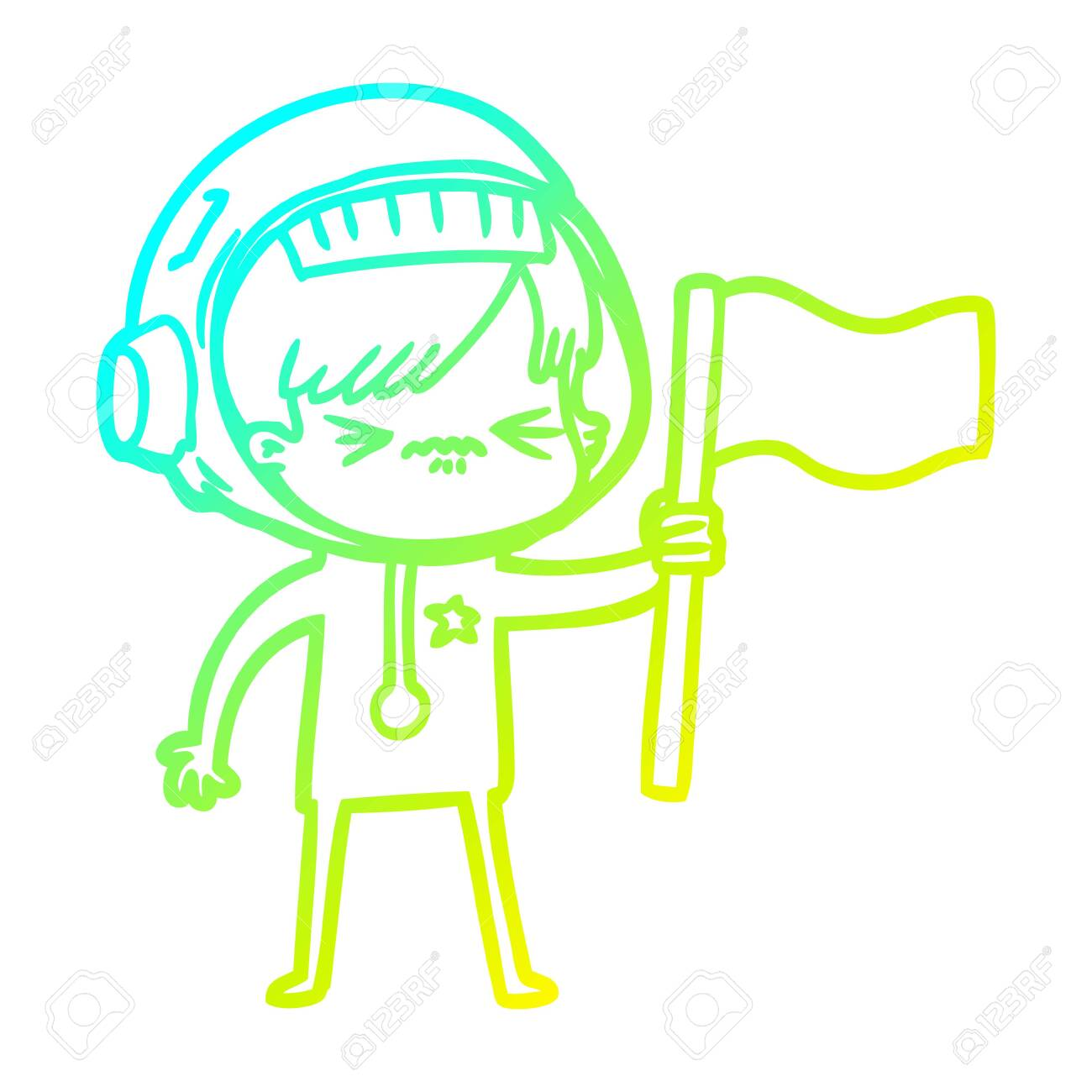 Cold Gradient Line Drawing Of A Angry Cartoon Space Girl Waving