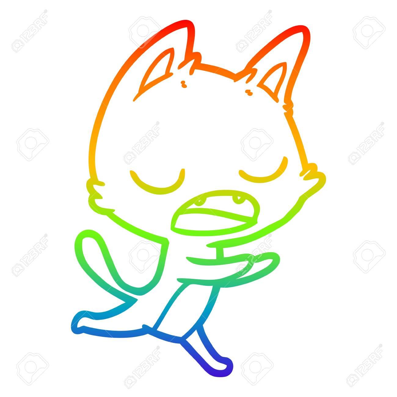 rainbow gradient line drawing of a talking cat cartoon - 130604106