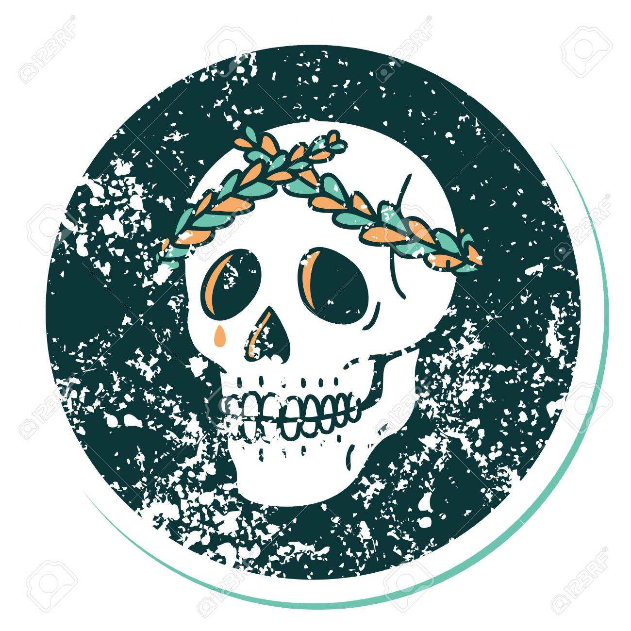 Iconic Distressed Sticker Tattoo Style Image Of A Skull With Royalty Free Cliparts Vectors And Stock Illustration Image 145454548