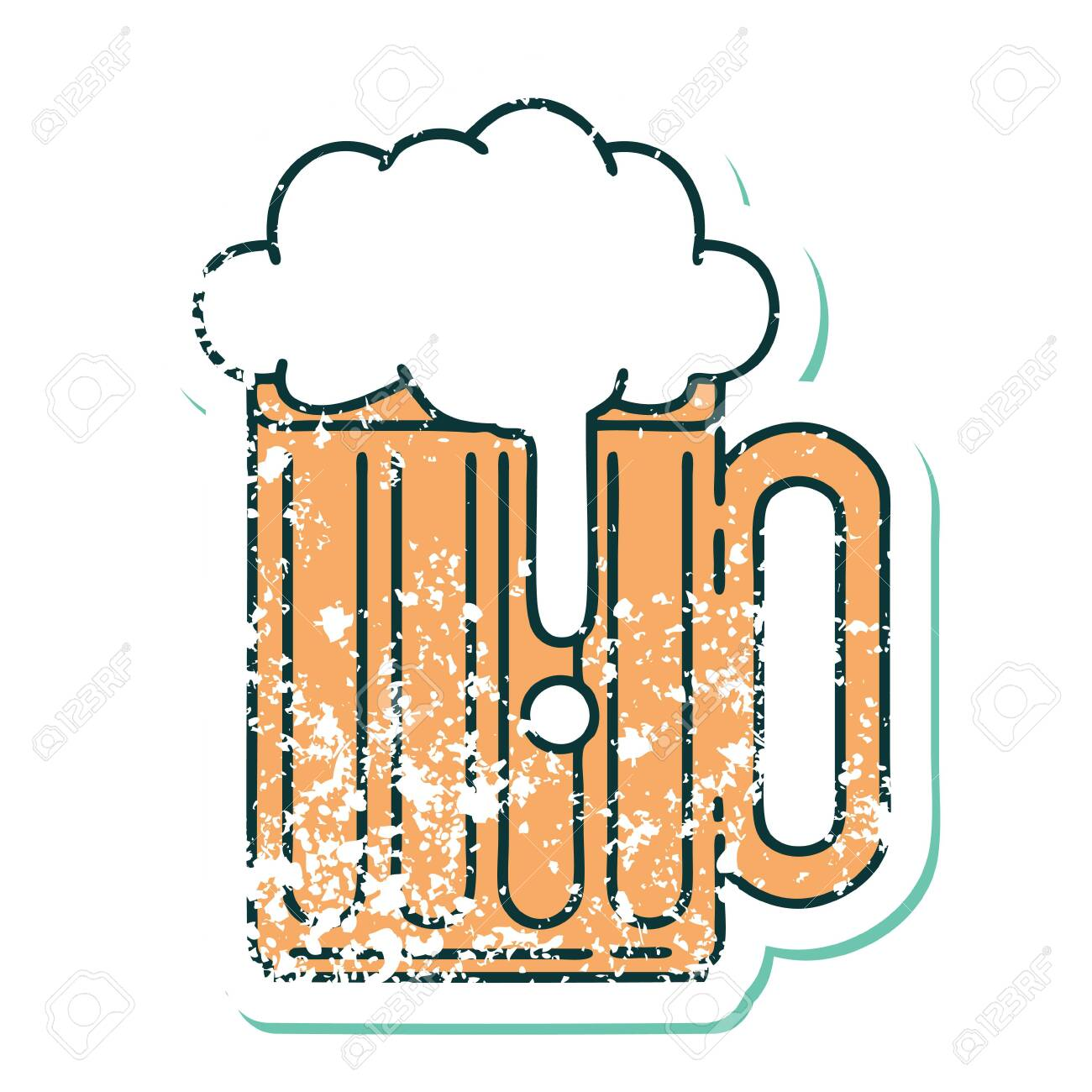 Iconic Distressed Sticker Tattoo Style Image Of A Beer Tankard Royalty Free Cliparts Vectors And Stock Illustration Image 145638708