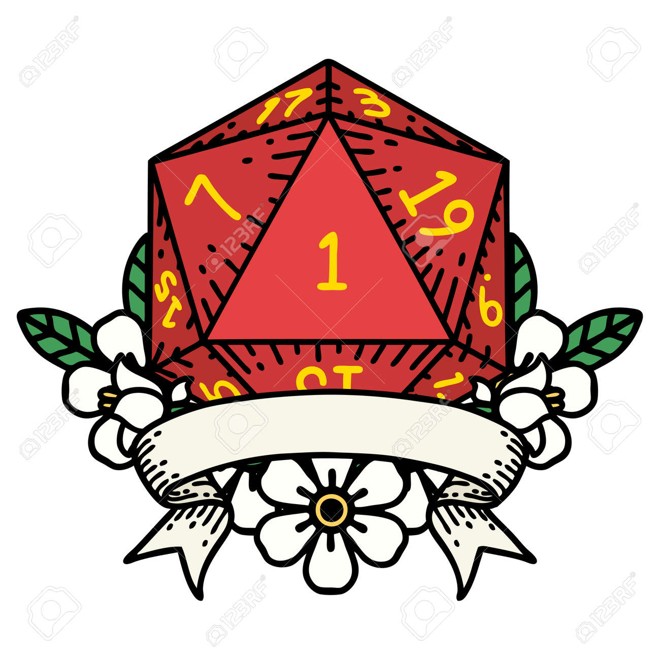 Retro Tattoo Style natural one d20 dice roll - 146143104