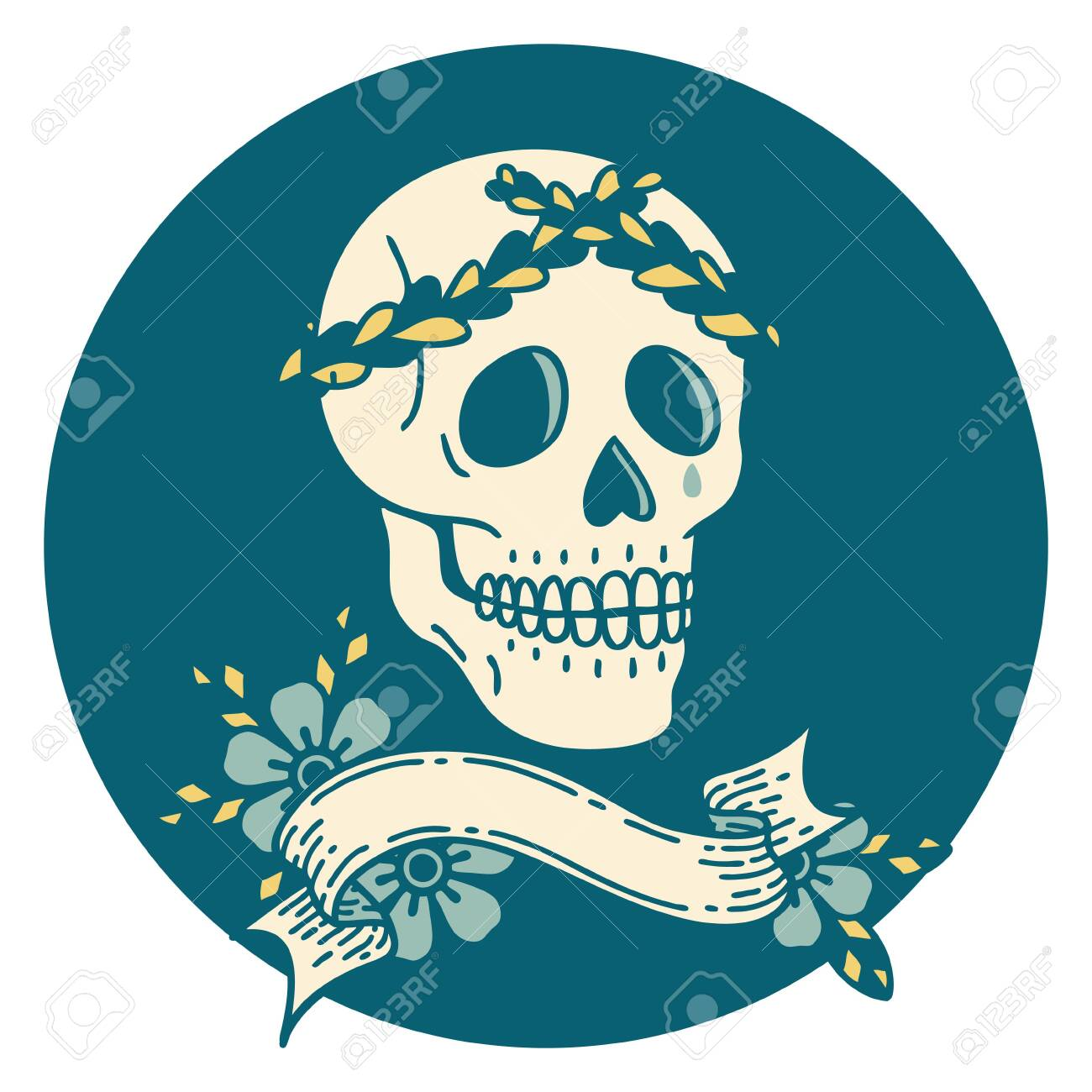 Tattoo Style Icon With Banner Of A Skull With Laurel Wreath Crown Royalty Free Cliparts Vectors And Stock Illustration Image 146234323