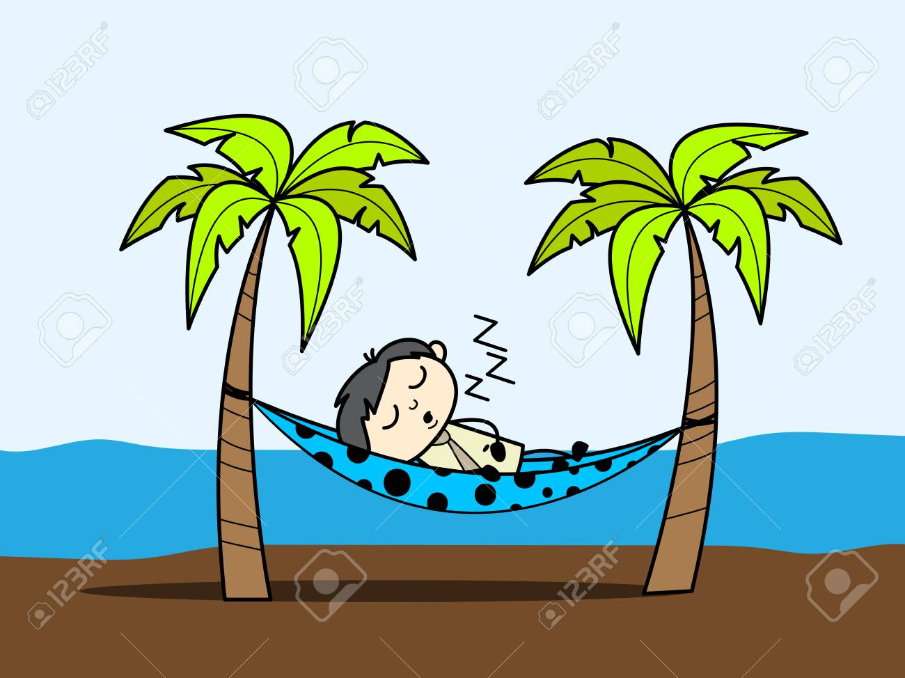 cartoon boy enjoying vacation at beach and sleeping on hammock