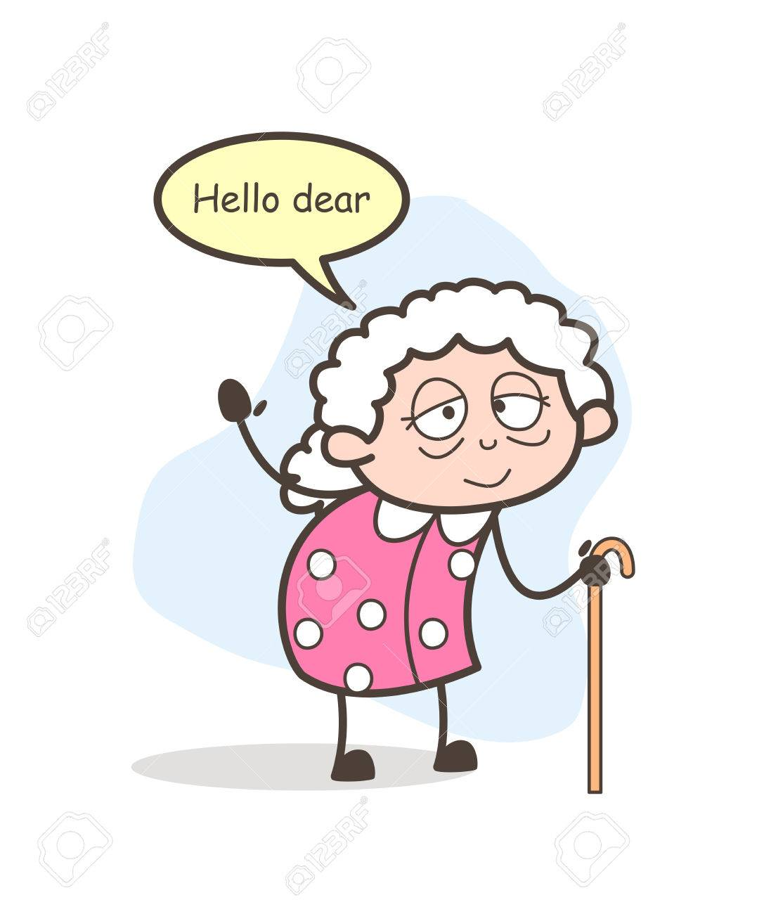 cartoon old lady saying something vector illustration royalty free rh 123rf com funny old lady cartoon images old lady cartoon images free