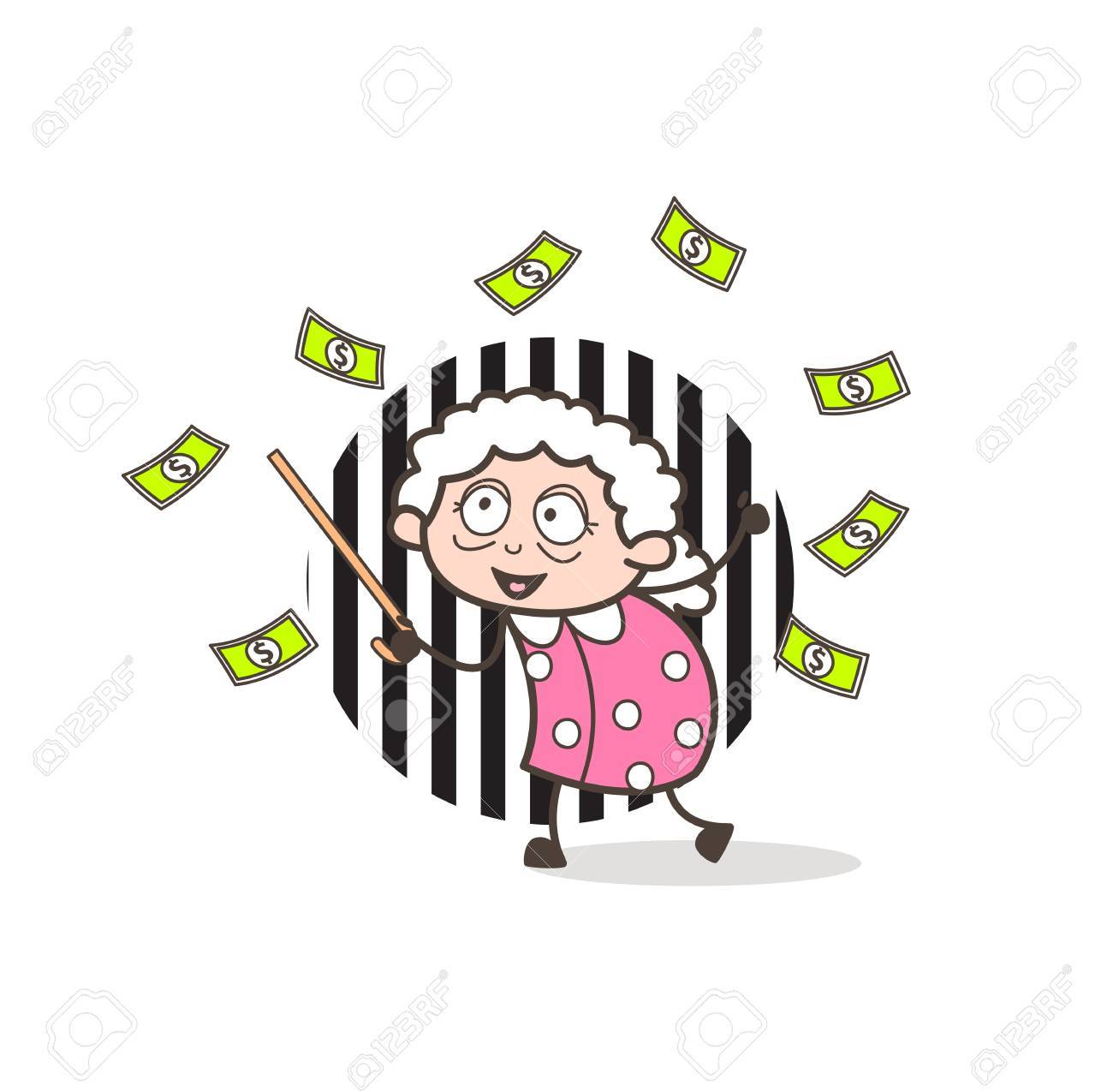 cartoon grandma collecting money vector illustration royalty free