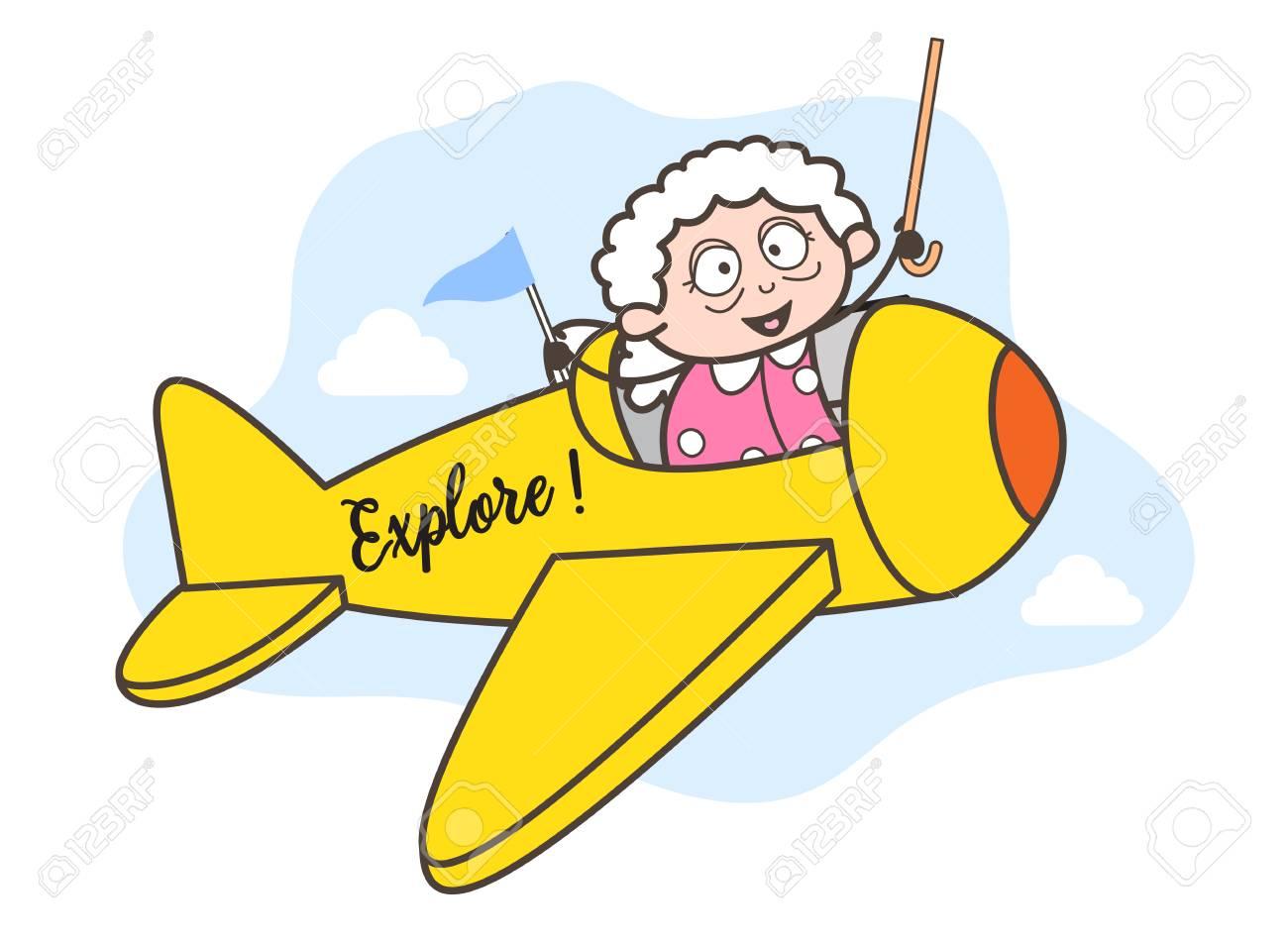 Cartoon Granny Flying Plane Vector Illustration Royalty Free