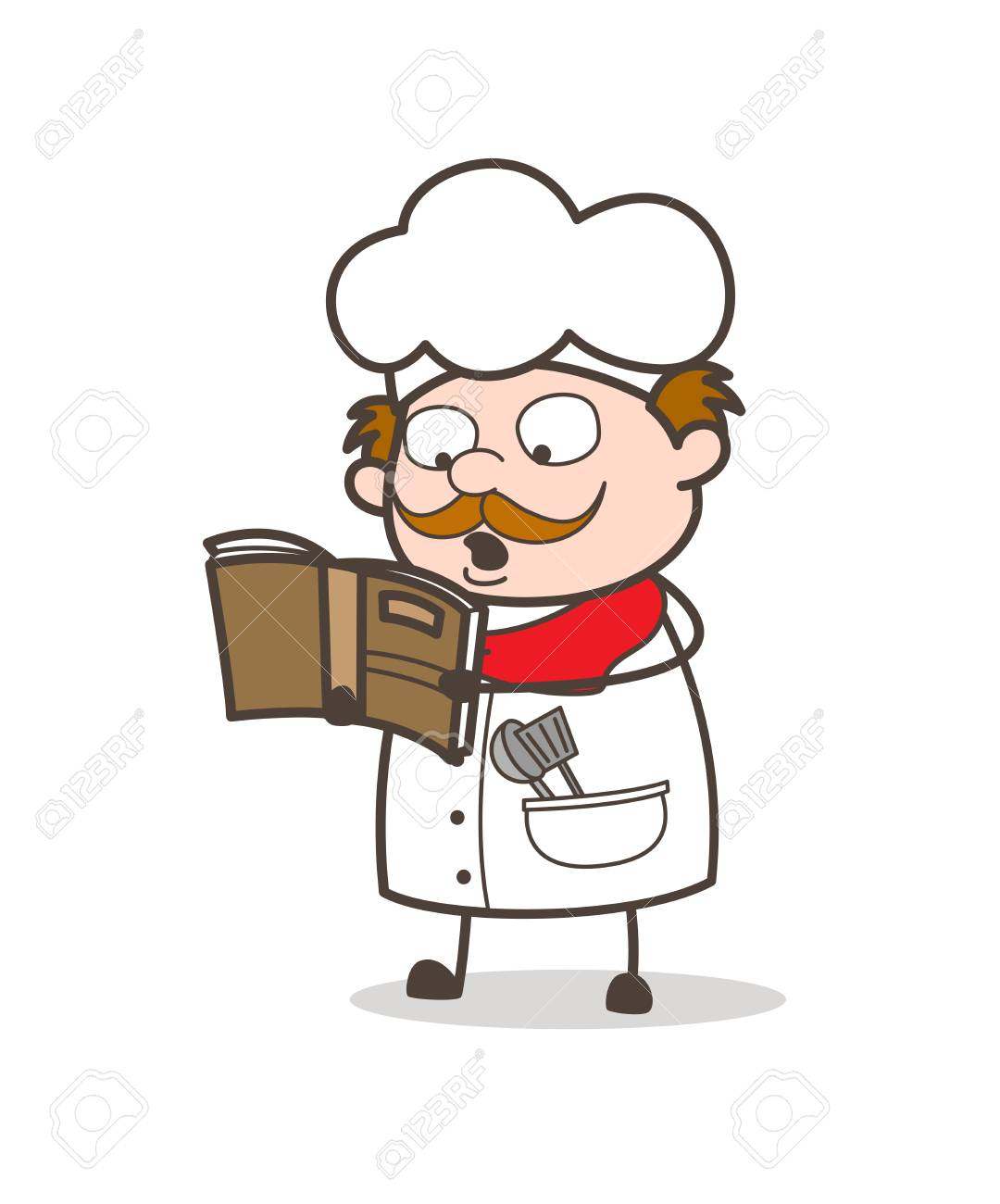 Cartoon Chef Reading Recipe Book For Cooking Royalty Free Cliparts ...