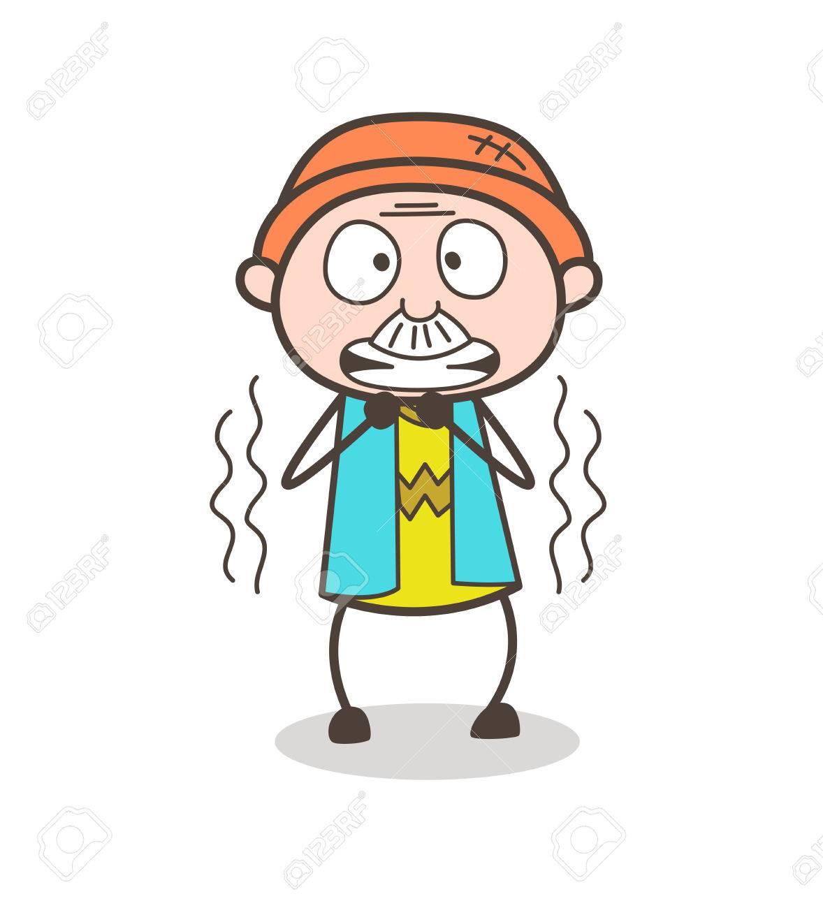 cartoon grandpa shivering in fear vector illustration royalty free