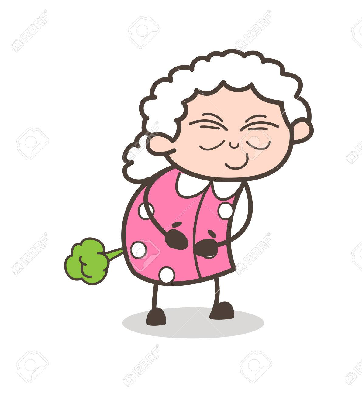 Cartoon Funny Old Woman Making Fart Vector Illustration Royalty Free Cliparts Vectors And Stock Illustration Image 83686470