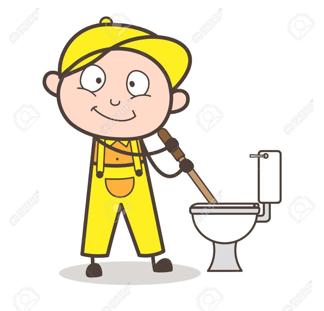 cartoon plumber cleaning toilet seat vector illustration royalty