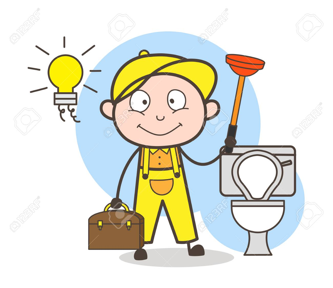 Cartoon Plumber With Plunger Cleaning Bathroom Vector Illustration Stock