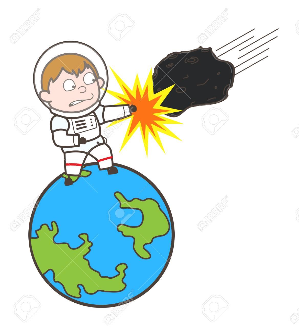 Cartoon Cosmonaut Hitting Asteroid Vector Illustration