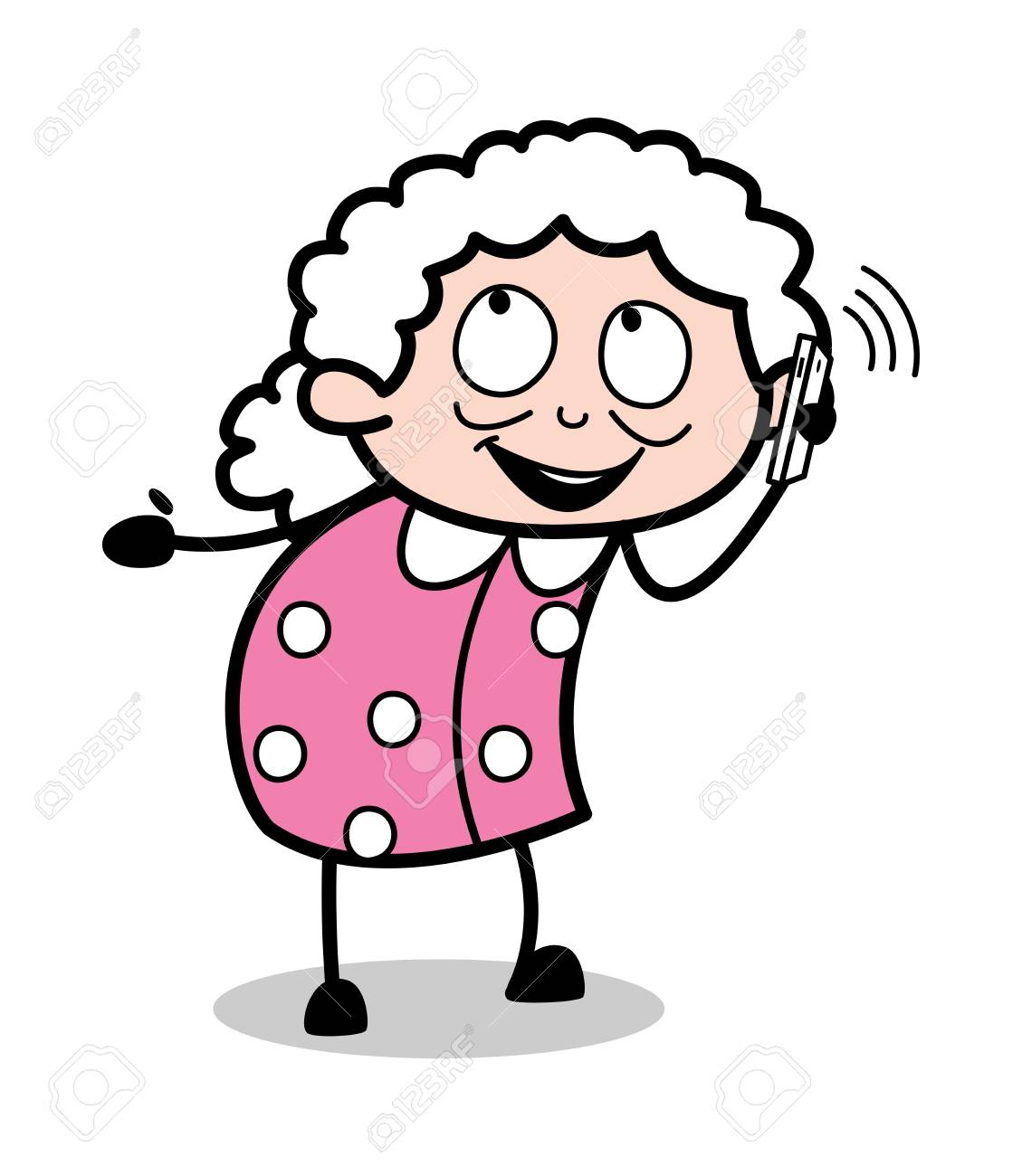 Talking On Phone - Old Cartoon Granny Vector Illustration Royalty ...