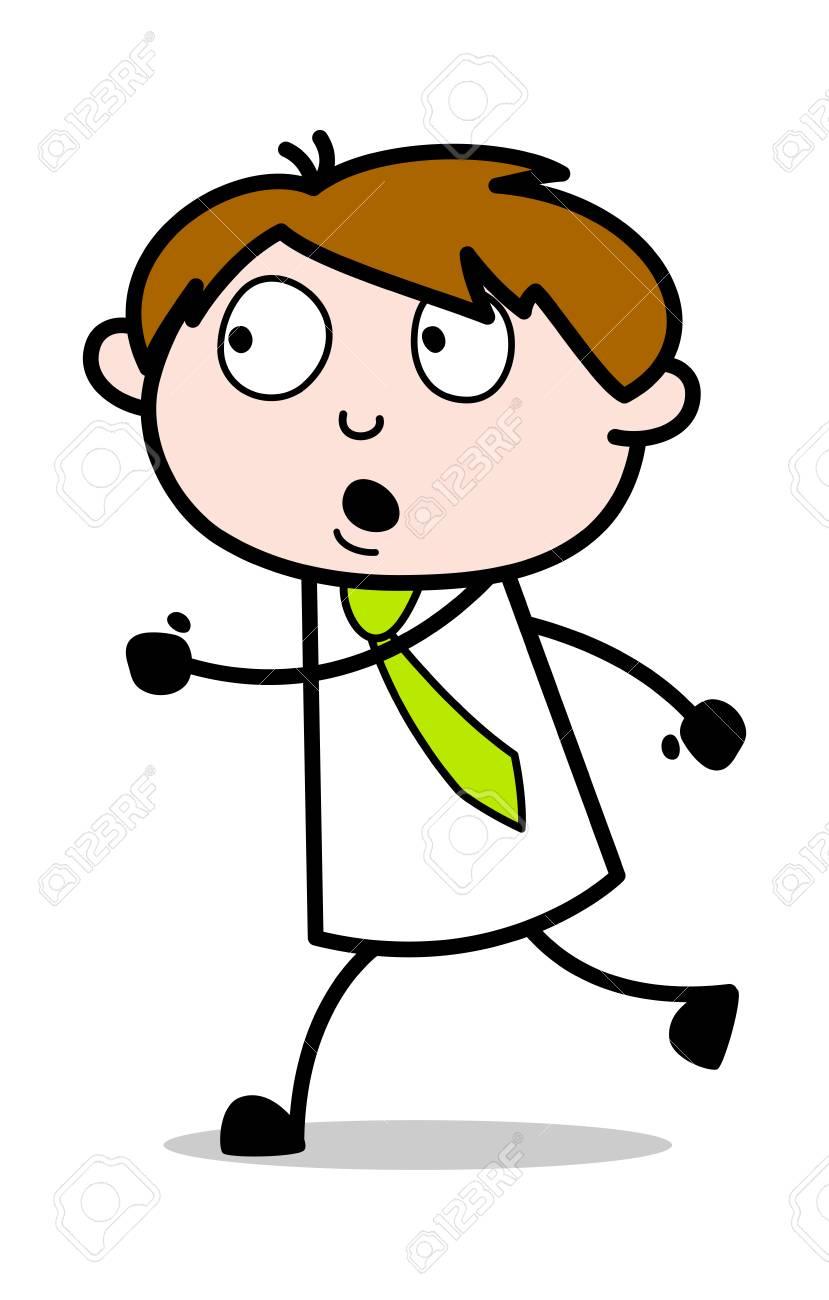 Running Speed - Office Salesman Employee Cartoon Vector Illustration - 122705310