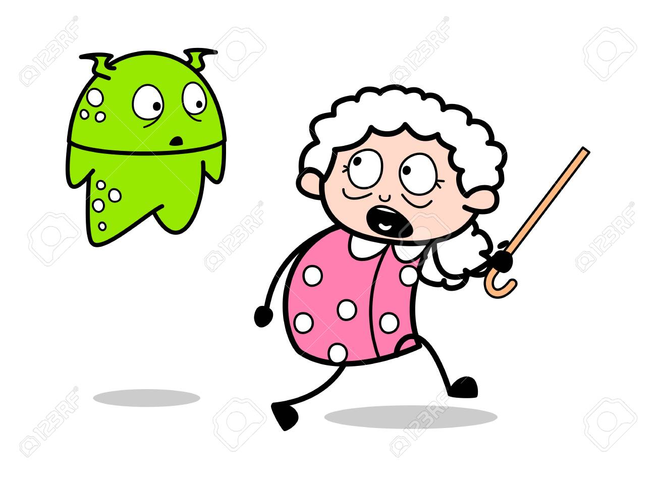 Old Lady Scared From A Alien Old Woman Cartoon Granny Vector Royalty Free Cliparts Vectors And Stock Illustration Image 123751899