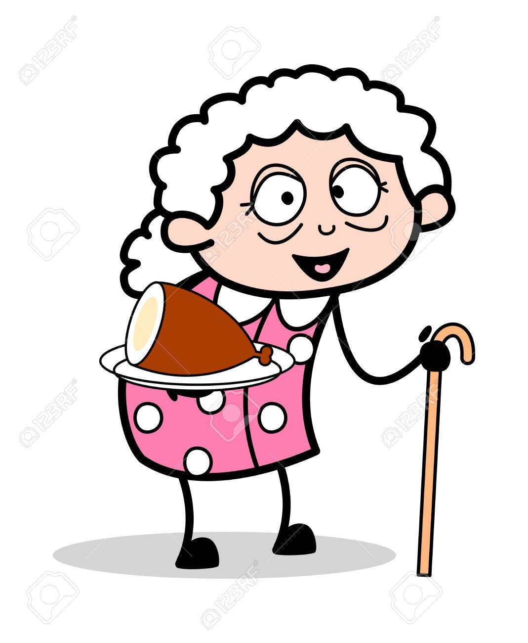 Presenting Non Veg Food Old Woman Cartoon Granny Vector Illustration Royalty Free Cliparts Vectors And Stock Illustration Image 123700378