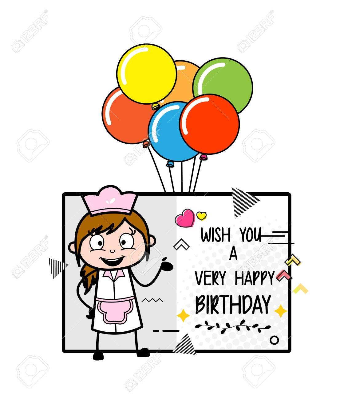 Presenting Birthday Wish Greeting - Retro Cartoon Waitress Female Chef Vector Illustration - 128508350