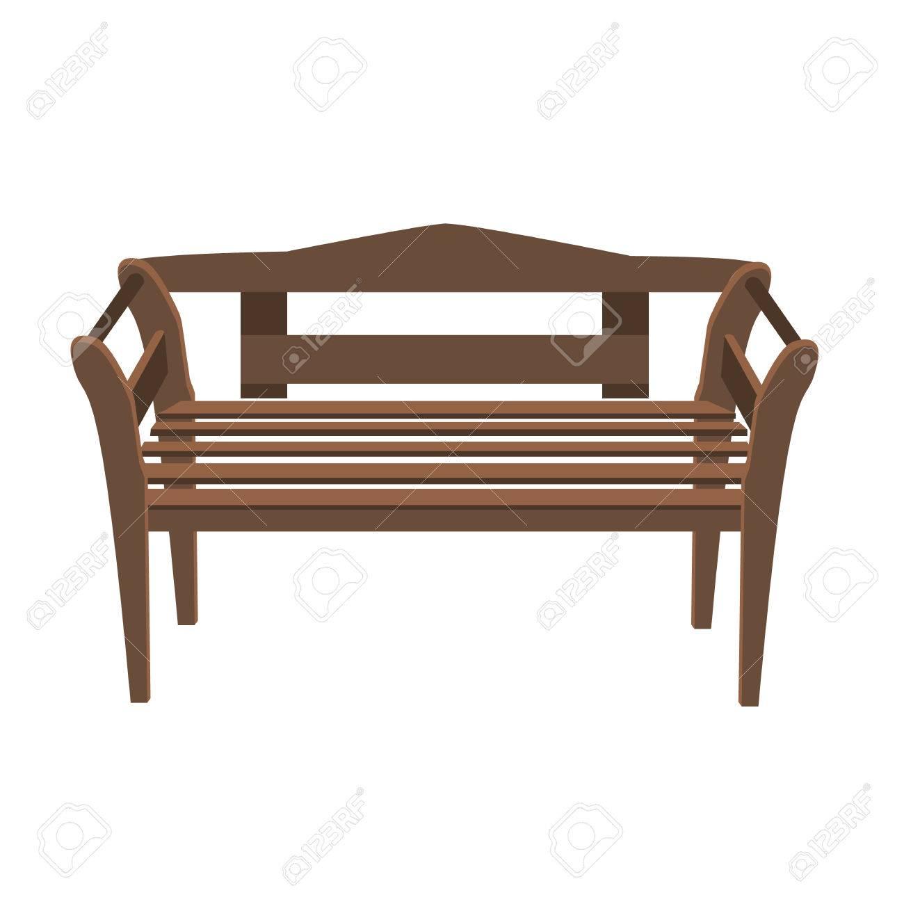 Banc de parc isolé sur un fond blanc. Version Bench illustration. Banc en bois.