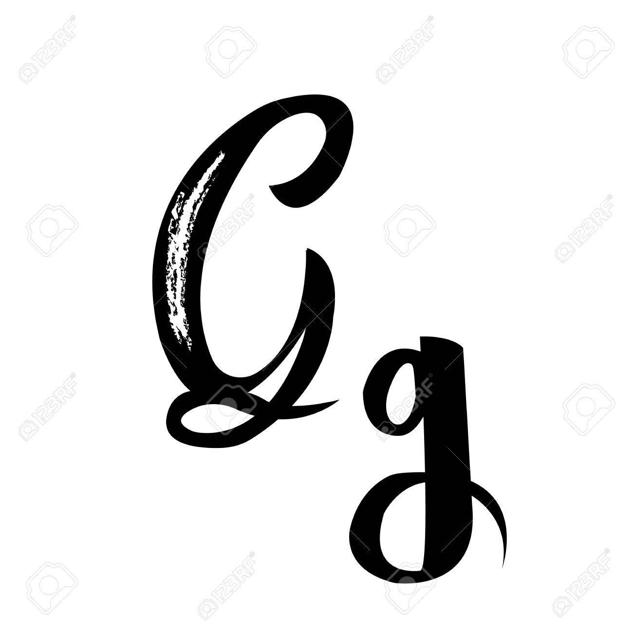 Alphabet Letters G Manuscript Calligraphy Vector Art Stock