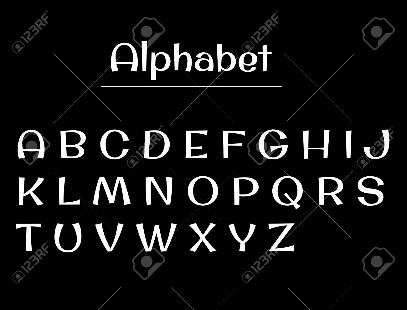 Alphabet Letters Alphabet White Letters On A Black Background Royalty Free Cliparts Vectors And Stock Illustration Image 81633285
