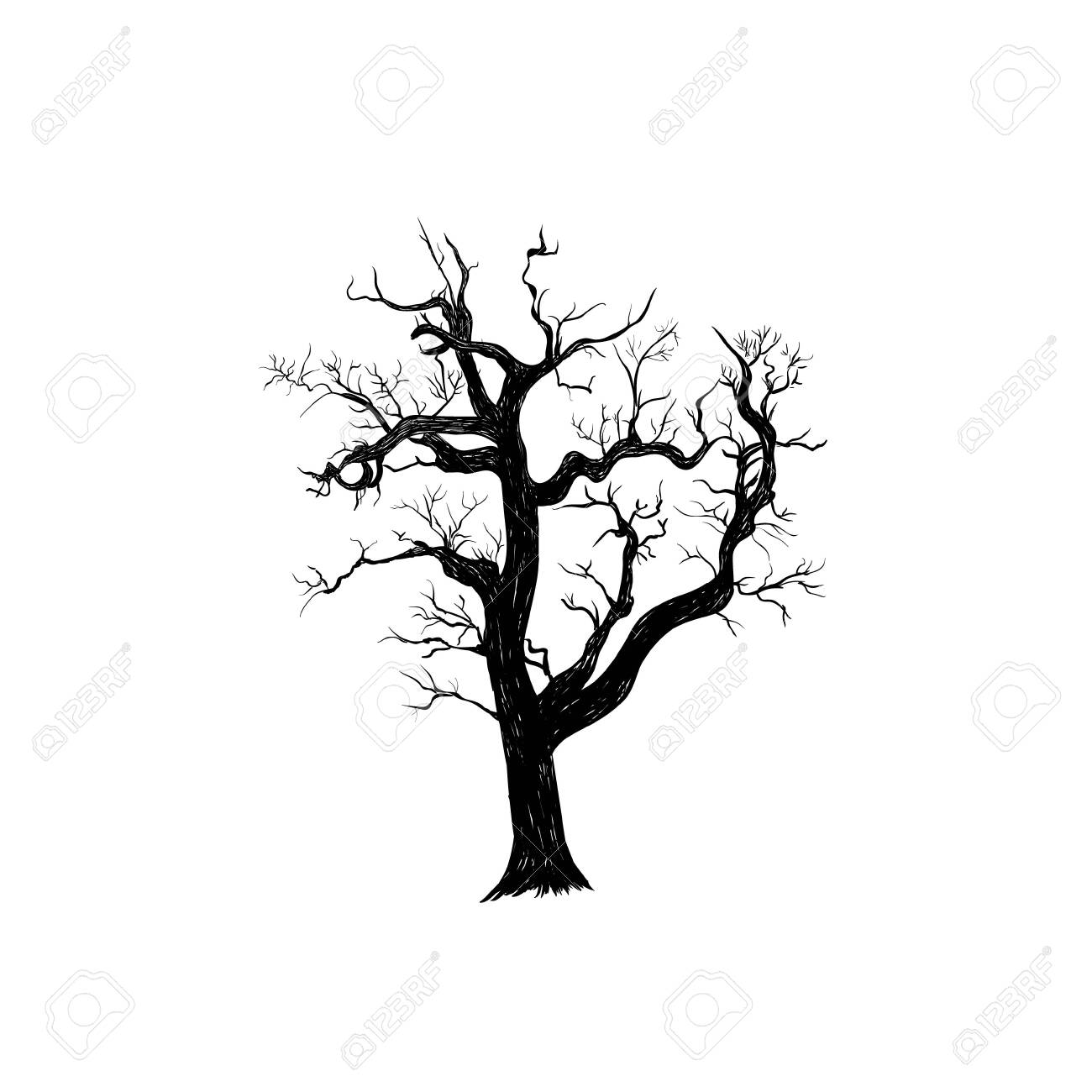 The Dry Old Tree Is Terrible Silhouette Of A Tree Hand Drawing Royalty Free Cliparts Vectors And Stock Illustration Image 122476550
