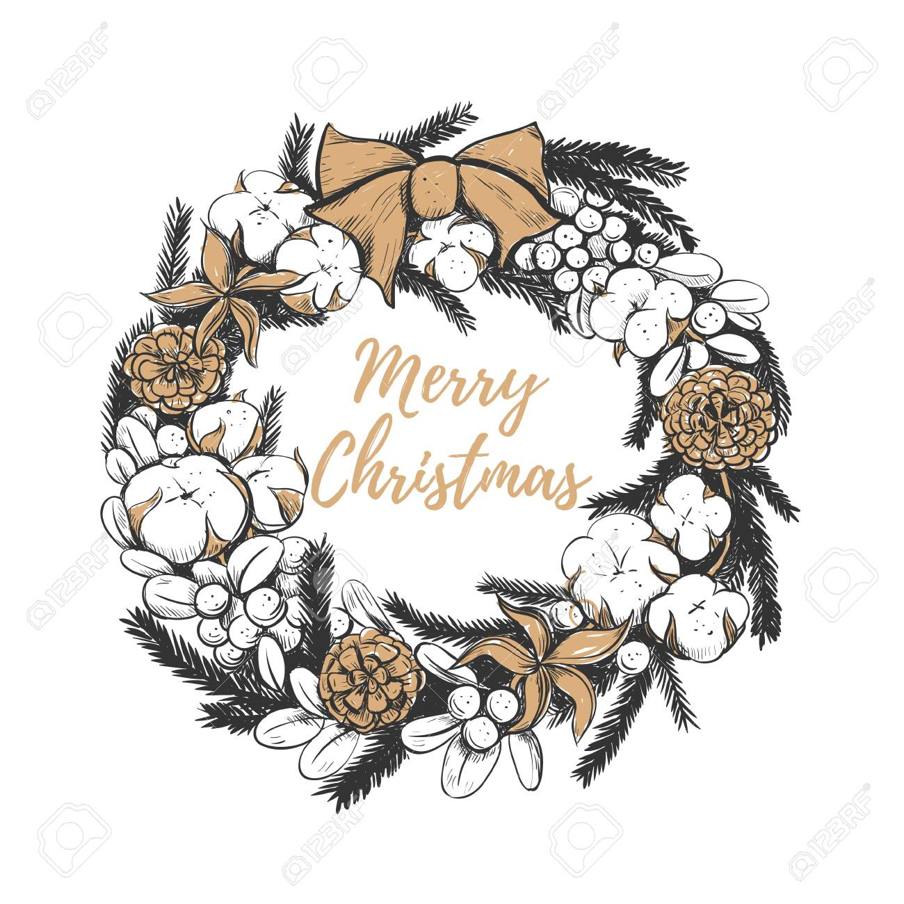 Christmas Wreath Vector.Merry Christmas Wreath Vector Illustration Christmas Wreath