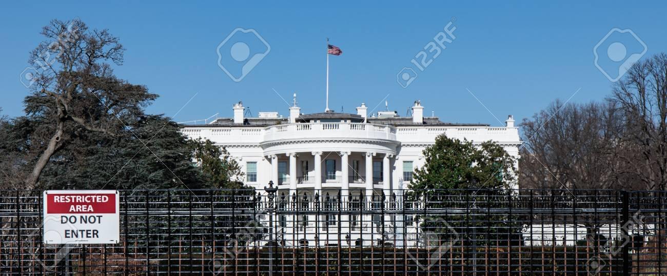 The White House In Washington D C Through The Perimeter Fence